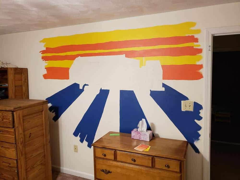 kids mural in progress